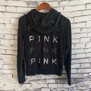 Pink Victoria Secret Velvet Hooded Track Jacket